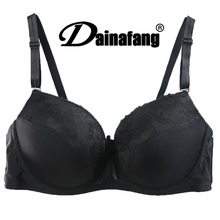 Hot Sale Women Cute Cheap Bras  40C/D 42C/D 44C/D Cup Black Lace Push Up Bras For Plus Size Women soutien gorge Free Shipping