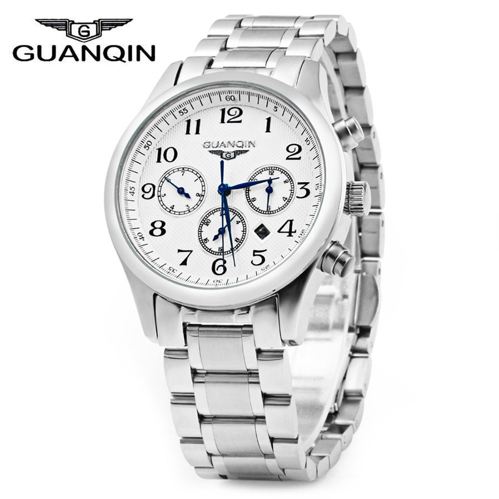 GUANQIN Men Steel Band Calendar Quartz Watch 10ATM Water Resistant with Three Moving Sub-dials<br>