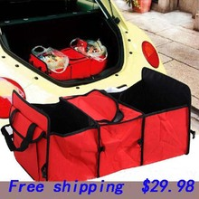 Oxford Cloth Car Trunk Foldable Cooler Bags Storage Bag Blue Red Store content bag Foldable bag(China)