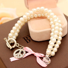Bracelet For Women Simulated Pearl Three Layers Peace Logo Sweet Korean Fashion Jewelry Accessory Female Charm Bracelets&bangles
