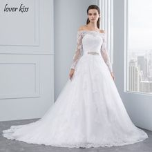 Lover Kiss Wedding Dresses Princess Lace Bridal Bride Gowns with veil robe de mariage Luxury Vintage Long Sleeves off Shoulder(China)