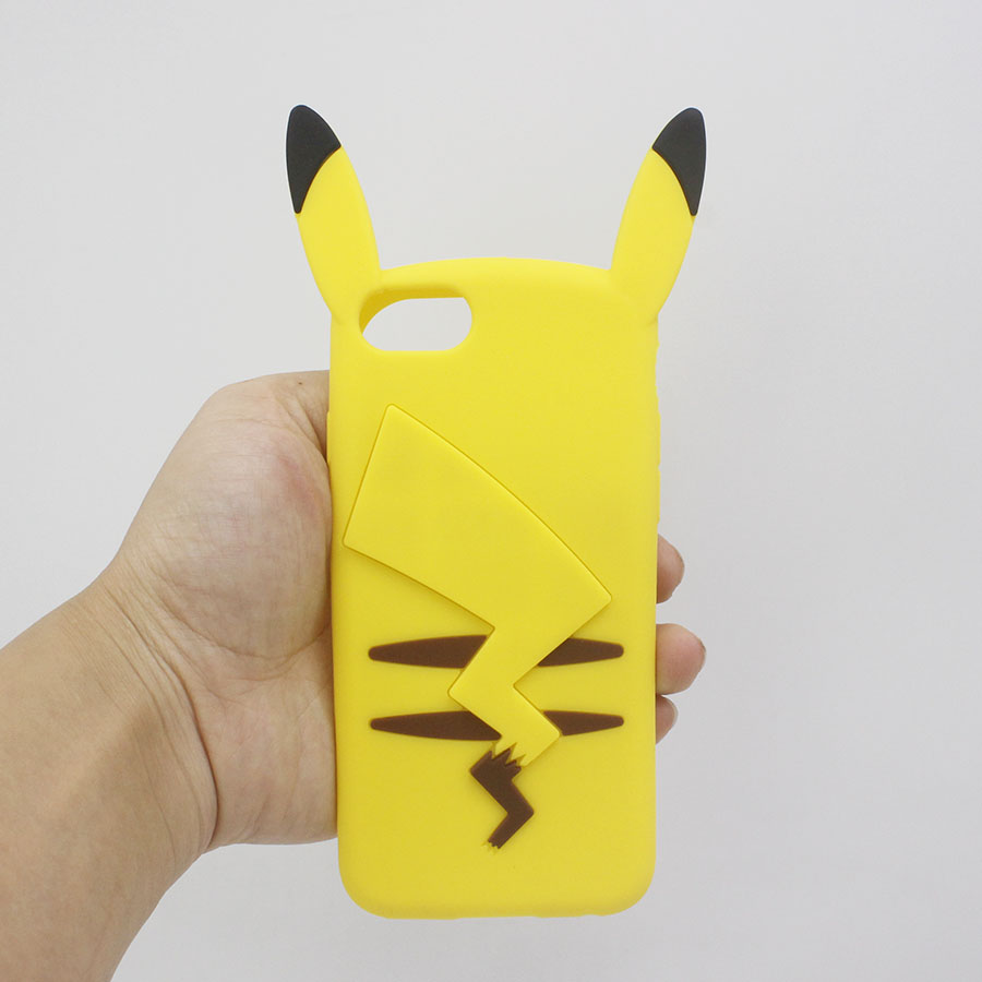 Cute Cartoon Yellow Pikachue Coque iPhone 7 7plus 6plus 6splus 6 6s plus 5 5s SE 3D Phone Case Funda Capa Soft Silicon Cover