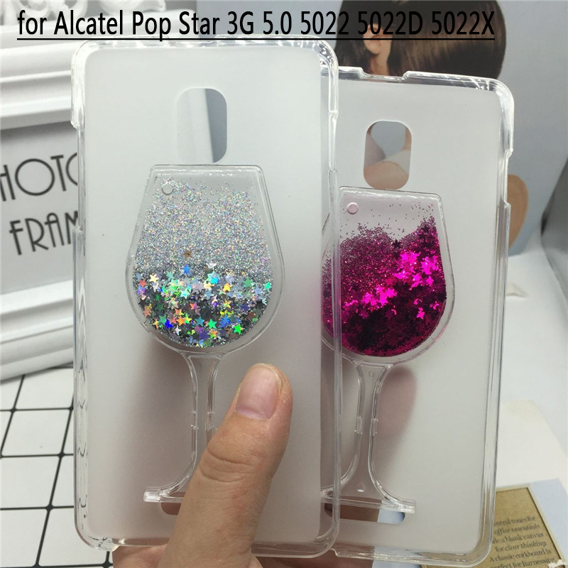 Glitter Quicksand Phone Cases Alcatel Pop Star 3G 5.0 5022 5022D 5022X Case Bling Cute Soft Silicon Back Cover 3D Capa Funda