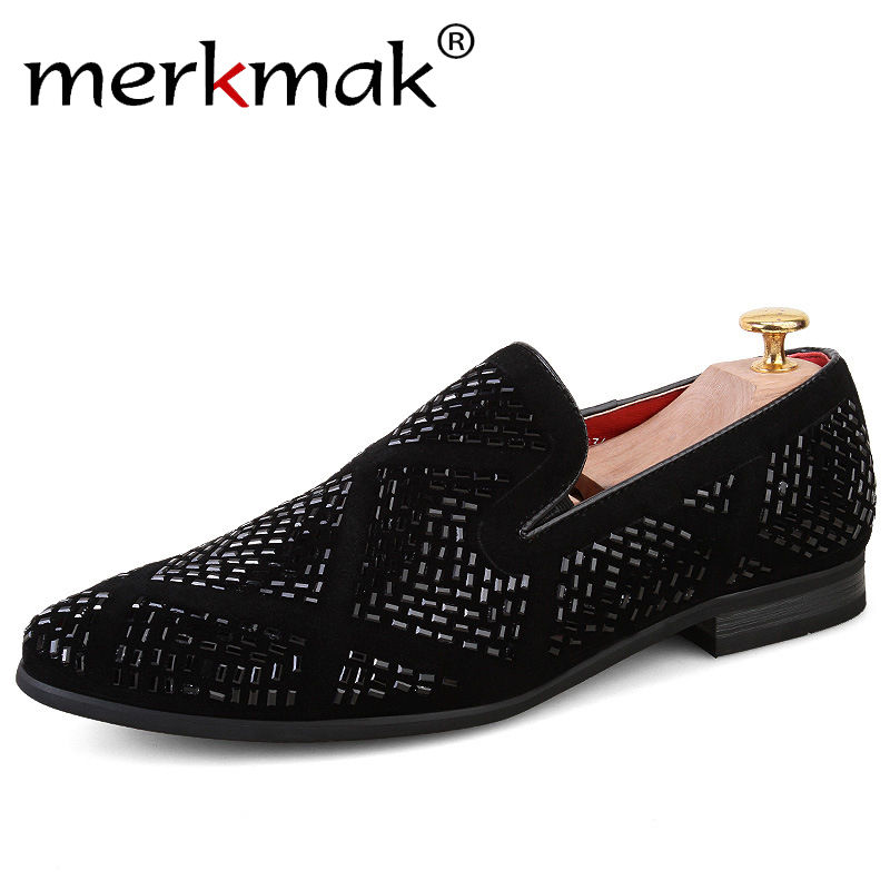Merkmak Luxury Brand Men Loafers Handmade Leather Italian Loafers Flat Casual Shoes Driving Mocassins Party Wedding Dress Shoes<br>