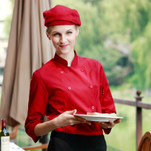 (5 get 10% off, 10 get apron) Woman chef wear uniform clothes wine red/black/white long sleeve restaurant hotel kitchen coverall