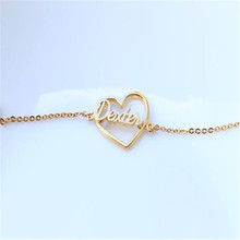 DIANSHANGKAITUOZHE Hollow Out Heart-Shaped Custom Name New Popular Double Color Bracelet Simple And Beautiful Looking