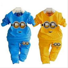 Boys garment girls clothing set brand kids  minions children clothing set  baby pajamas suits love print baby girl clother