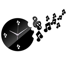 Creative Musical Notes Acrylic Wall Clock Modern Design Luxury Mirror Quartz Clocks 3d Rushed Crystal Watches Living Room