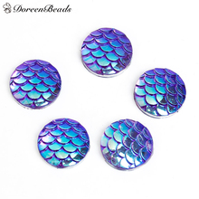 "DoreenBeads Resin Mermaid Fish /Dragon Scale Dome Seals Cabochon Round Purple AB Color 12mm( 4/8"") Dia, 100 PCs(China)"