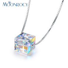MOONROCY Free Shipping Fashion Silver Color Austrian Crystal Necklace Cube Shape Jewelry Wholesale Gift Choker for Women