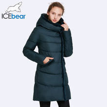 ICEbear 2017 Women's Mid-Long Winter Jacket Stand Collar Hooded Design Fur Collar Warm Practical Big Pocket Parka 17G6116D(China)