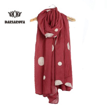 [DARIAROVA]2017 New Fashion Dot Pattern Viscose Cotton Scarf Women Long Embroidered Scarves Spring Autumn solid Shawl and Wrap(China)