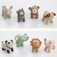 zakka Decor Cat Figurines Kawaii Elephant animal figurines Panda Resin Figures mini garden figures Pig decole Lucky Dog
