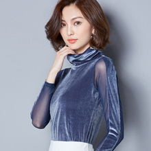 Women Mesh Patch Velours Long Sleeve High Neck T Shirt Pullover(China)