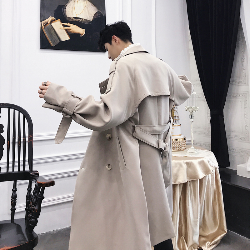 M-XXL!  Long lapel jacket in British style double breasted knee-length trench coat popular logo men's wear