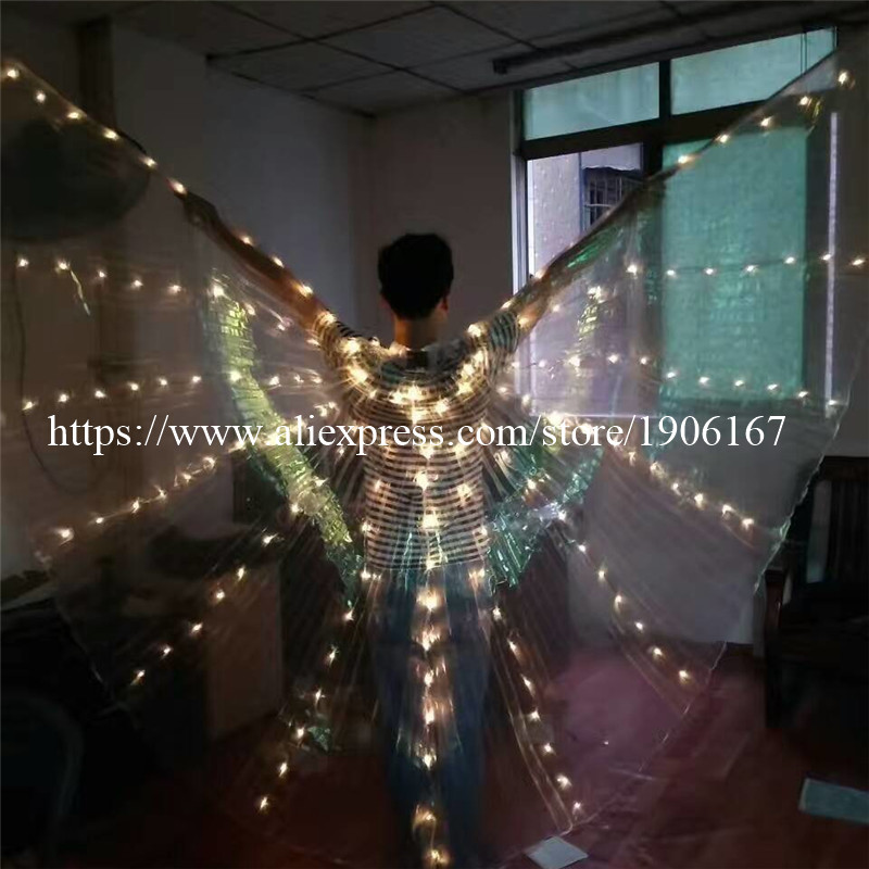 2017 Stafe Performance Prop Women Dancewear Girls DJ LED Wings Light Up Wings Belly Dance Wing Costume01