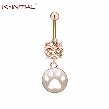Kinitial 1Pcs Cute Piercing Navel Surgical Zircon Belly Button Rings Navel Jewelry Dog Cat Paw Dangle Body Piercing Ring Men