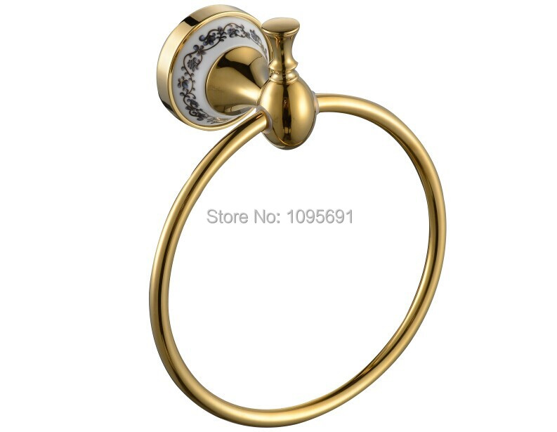 MAIDEER high quality  luxury  golden   brass+ceramic  towel ring towel rack  bathroom accessories<br>