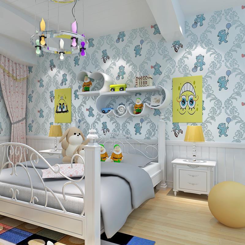 beibehang protection children s room wallpaper Cubs three - dimensional bronzing non - woven wallpaper cartoon children s <br>