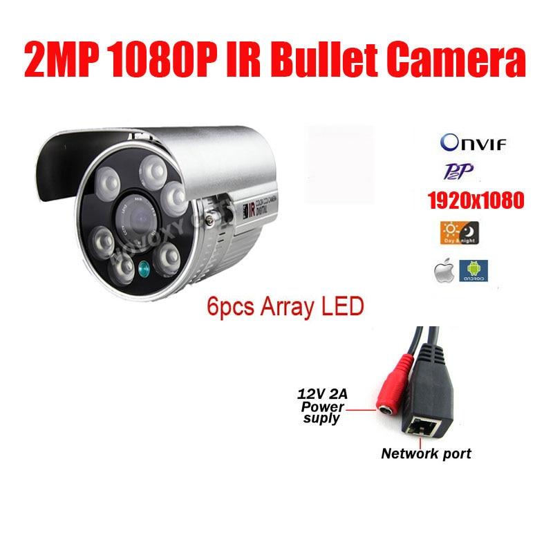 Free Shipping 2MP 1080P  HD IP Cam  6pcs Array Led CCTV IP Camera Outdoor Infrared Night Vision IR Bullet Box Camera<br><br>Aliexpress