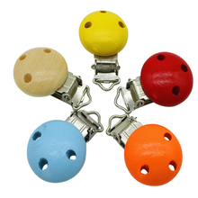 5pcs/lot Wooden Baby Children Pacifier Holder Clip Infant Cute Round Nipple Clasps for Baby Product Random Color