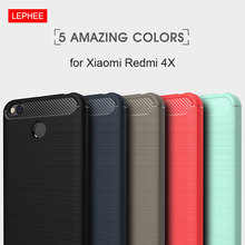 LEPHEE Xiaomi Redmi 4X Case Silicone Soft TPU Brushed Carbon Fiber Texture Xiomi Redmi 4 X Phone Protective Cover Global Version