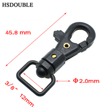 "50pcs/lot 1/2""Black Plastic Swivel Snap Hook For Weave Paracord Lanyard Buckles Backpack Straps Webbing 12mm"
