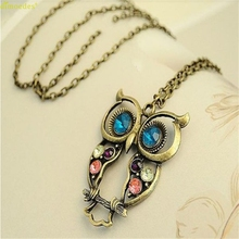 HOT Brand Fashion Lady Crystal Big Blue Eyed Owl Long Chain Pendant Sweater Coat Necklace