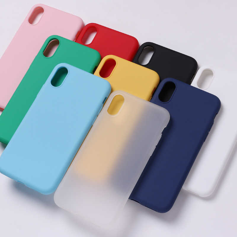 Silicone Solid Candy Matt Simple Soft Phone Thin Fundas Capa Coque Back Cover For iPhone 7Plus 7 6S 5S 8 8Plus X XS Max Case