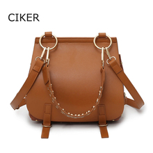 CIKER Brand Designer New Women's Crossbody Bag Female Handbags Vintage Shoulder Bags Ladies Women Leather Handags Rivet Tote Bag
