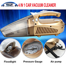 Multi-function Portable Car Vacuum Cleaner 12V 4 IN 1 120W High-Power Wet and Dry Aspirador Pressure Pneumatic Lighting(China)