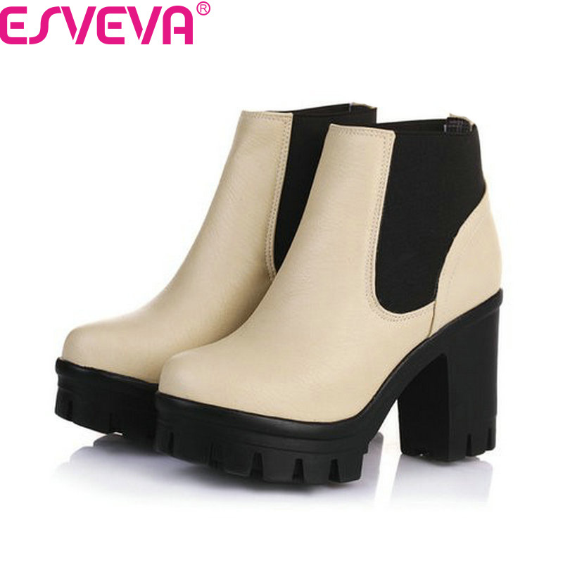 ESVEVA New Arrival Fashion Thick High Heels Boots Women Platform Slip On Hot Sale Motorcycle Mixed Color Winter Snow Shoes Black<br>