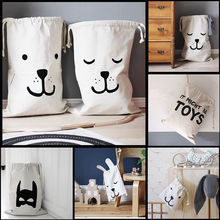 Cartoon Baby Kid Toys Canvas Storage Bags Bear Drawstring Pouch Bags Space Saver Vacuum Storage Travel Organizer