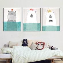 HAOCHU Personized Cute Cartoon Animals Diving Hippo Christmas Bear Watercolor Blue Canvas Painting For Kid Room Great Boy Gifts