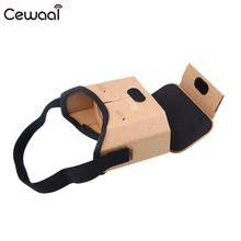 Cewaal Professional Portable Mobile Phone Cardboard VR Box 3D Virtual Reality Glasses Lens Protector Brown Gift(China)