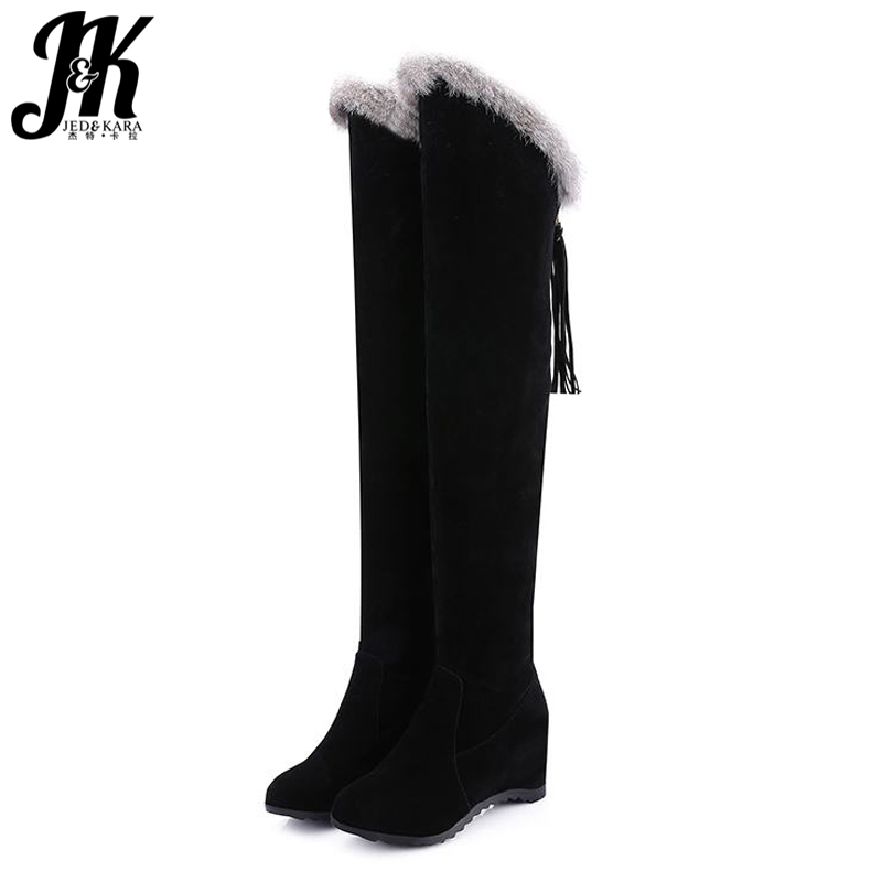 Big Size 34-43 2016 Keep Warm Thigh High Fall Winter Boots Height Increasing Fur Female Footwear Sexy Warm Over The Knee Boots<br>