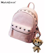 New brand fashion pink backpack women shoulder bag school backpacks for teenage girls studded black rivet bags