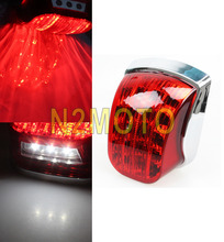 Motorcycle Taillight Red Chrome LED Tail Light LED License Plate Lamp For Vespa PX125 PX150 PX200 Sprint