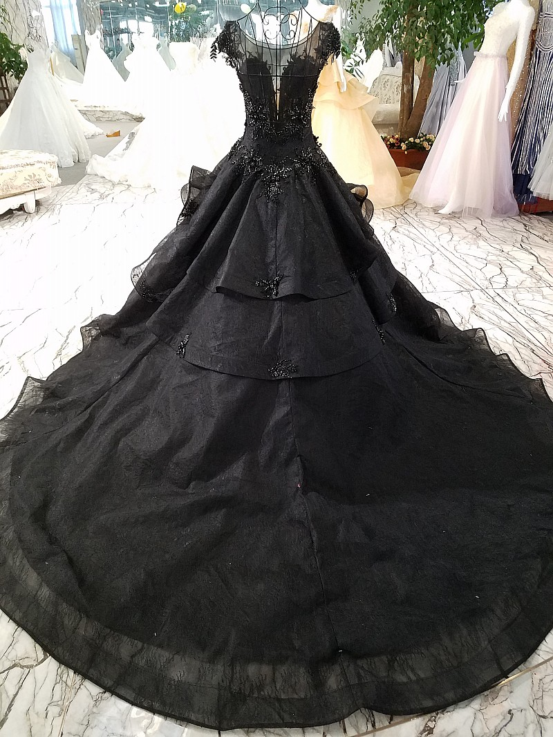 lace black wedding dress