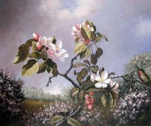 Office Decoration Art Painting Martin Johnson Heade of Apple Blossoms and Hummingbird Still Life Oil on Canvas