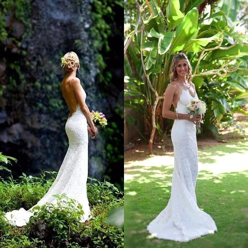Fashion Beach Wedding Dresses Spaghetti Straps Full Lace Sexy Backless Floor Length Garden Wedding Bridal Gowns Custom Made