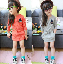 kids dresses for girls 2017 spring long sleeve cute rabbit princess dress mini orange gray kid girls Casual clothing DY141A