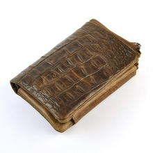 First Layer Of Genuine Leather Men's Large Capacity Multi-Card Trifold Short Wallet Retro Purse Crocodile Alligator Zip Coin Bag(China)