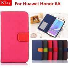 Conque For Huawei Honor 6A Leather Case Soft Silicon Wallet Case For Huawei Honor 6A Coque 5.0 inch Cell Phone Bag(China)