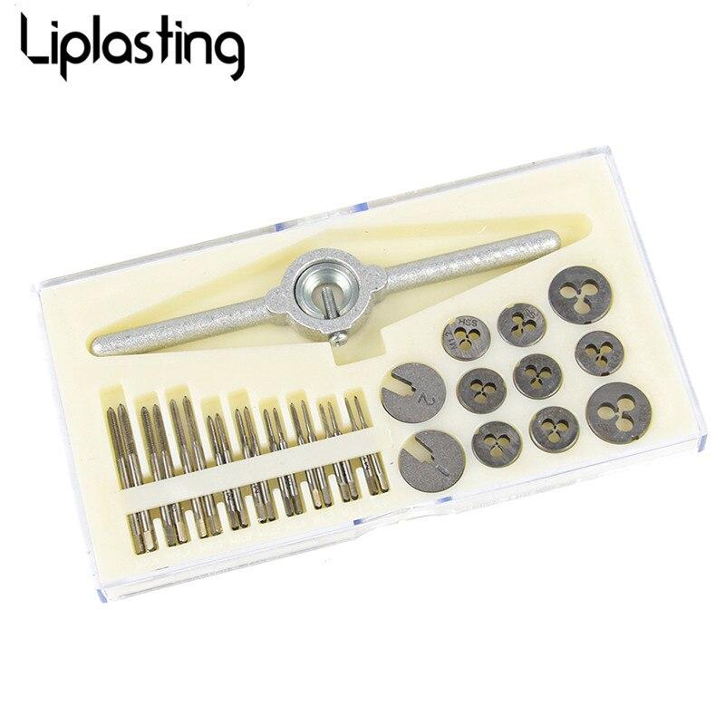 Liplasting 31pcs/set Metric Taps Dies Wrench Handle Tap and Die Set DIES M1/M1.1/M1.2/M1.4/M1.6/M1.8/M2/M2.2 /M2.5 Screw<br>