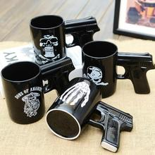 Personality Porcelain Black Gun Mug Skull Pirate Devil Claws for Option with nice Brown box(China)