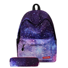 Women Backpack Universe Space Backpack With Pencil Case Sets School Bags For Teenage Girls Boys Galaxy Backpack Mochila Escolar(China)