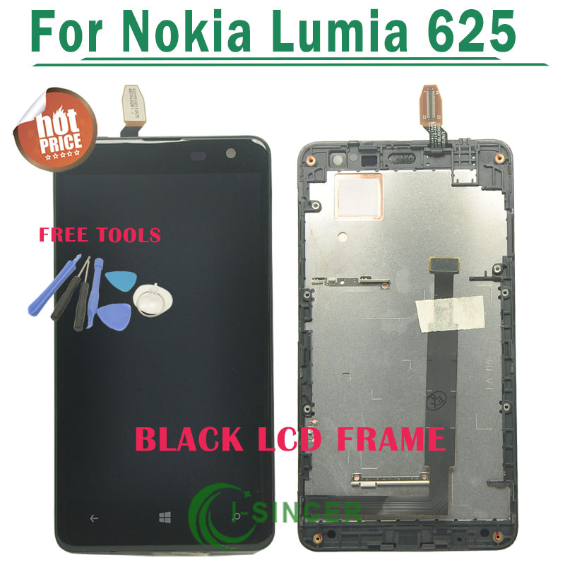 1/PCS Black Replacement For Nokia Lumia 625 LCD Display+Touch Screen Digitizer Frame Assembly +tools Free Shipping<br><br>Aliexpress