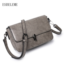 ESBELEME Women Genuine Leather Shoulder Bags for Female Gray Black Pink Brown Flap Bag Cow Leather Ladies Messenger Bags YG194(China)