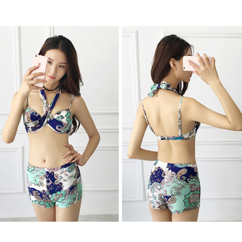 Swimsuit female three-piece set cover belly  bikini blouse large size bikini hot spring Korean style small fresh bikini<br>